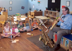 Bob Byrd shares music with the children at the ARMC Family Enrichment Center.