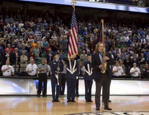 Bob Byrd performing the National Anthem at the Greensboro Coliseum for the ACC Women's Basketball Tournament.
