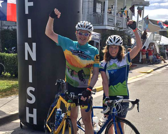 Bob and Barbara at the finish line of the 2017 Mountains to the Coast Ride in Swansboro, NC.